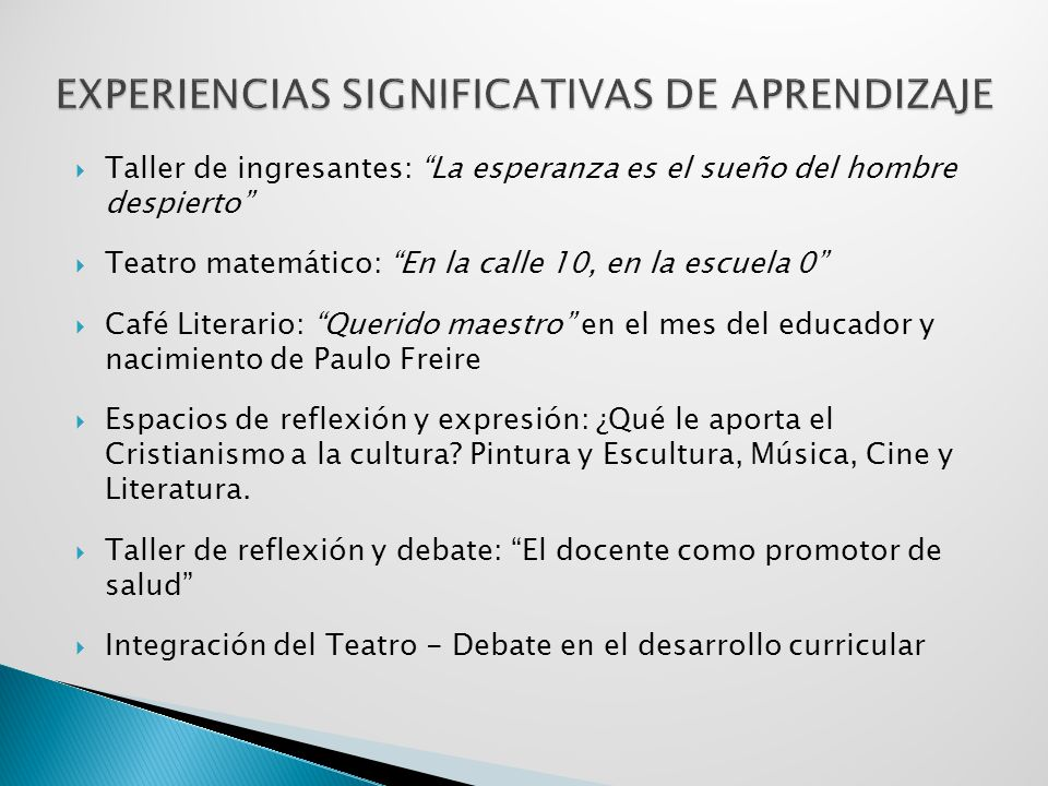 EXPERIENCIAS SIGNIFICATIVAS DE APRENDIZAJE