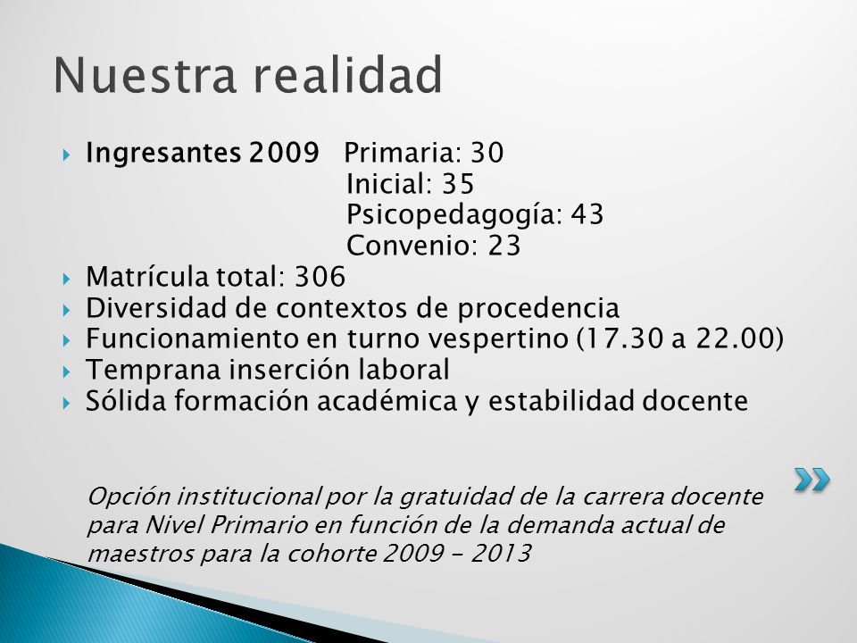 Nuestra realidad Ingresantes 2009 Primaria: 30 Inicial: 35
