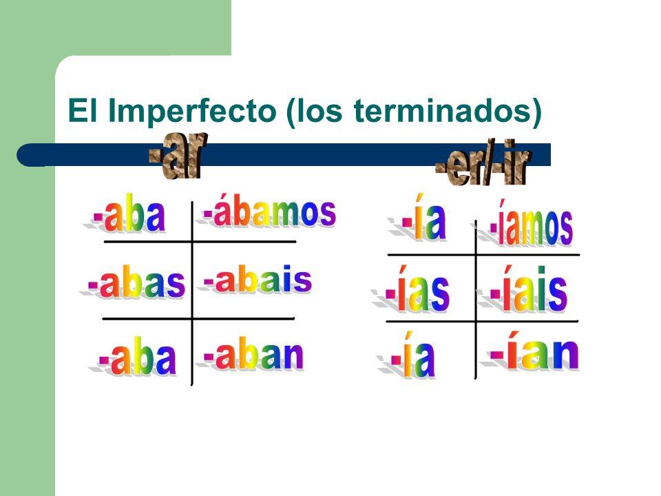 El Imperfecto (los terminados)