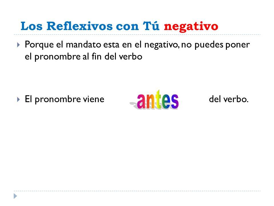 Los Reflexivos con Tú negativo