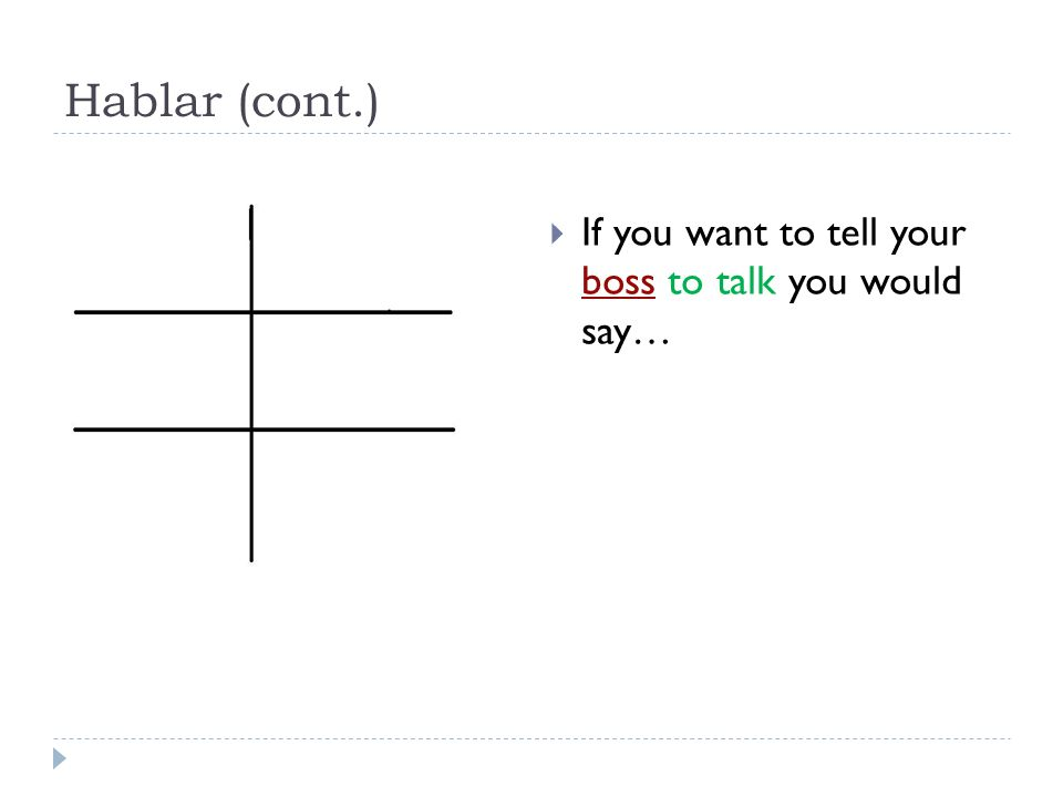 Hablar (cont.) If you want to tell your boss to talk you would say… 52