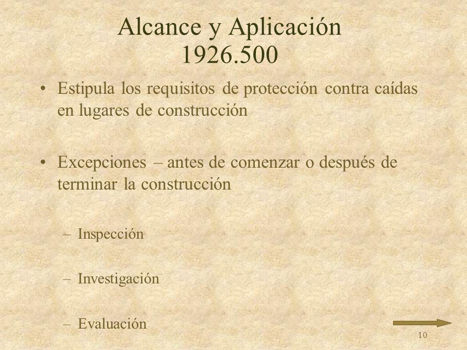 Alcance y Aplicación 1926.500 Estipula los requisitos de protección contra caídas en lugares de construcción.