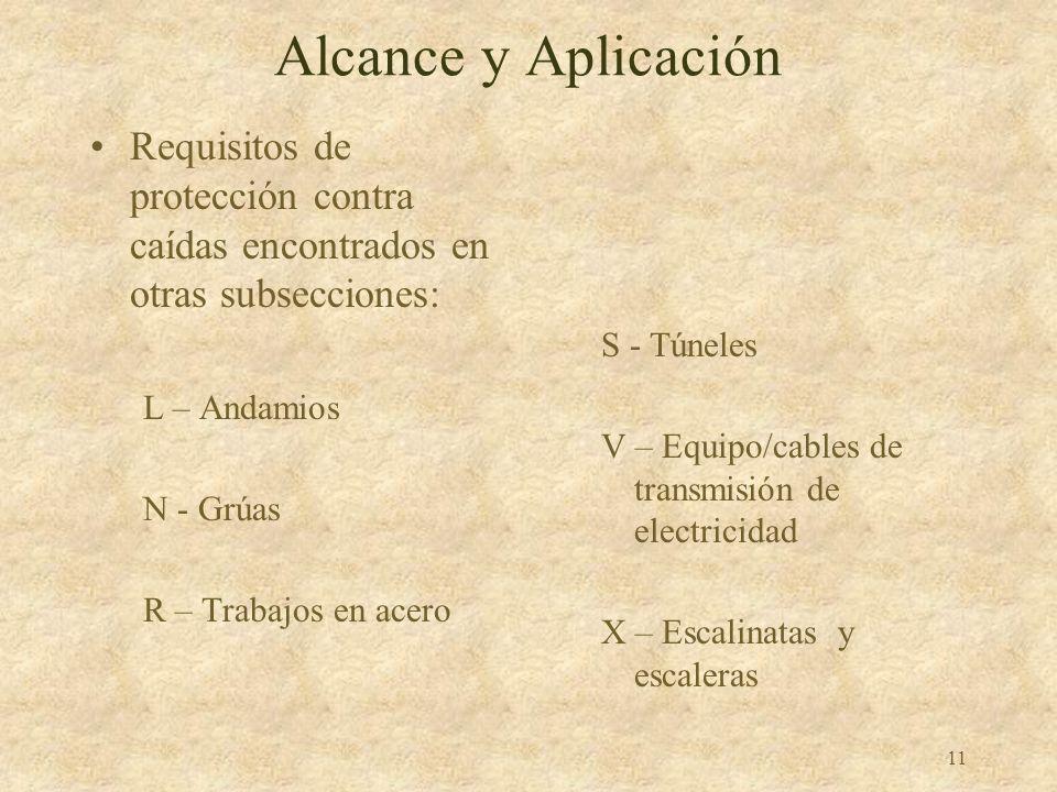 Alcance y Aplicación Requisitos de protección contra caídas encontrados en otras subsecciones: L – Andamios.