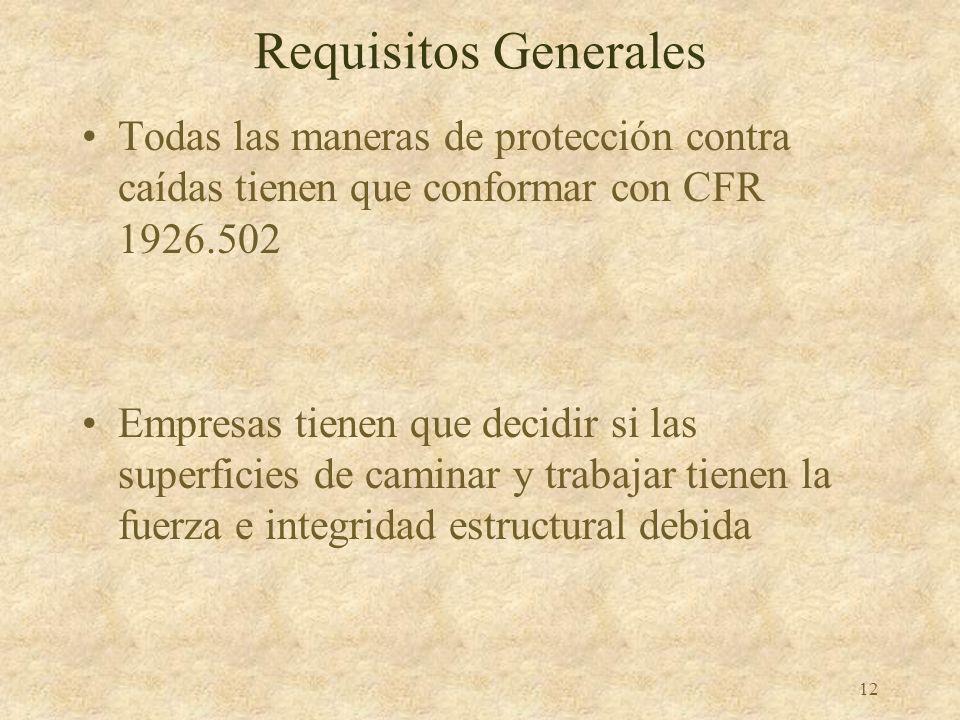 Requisitos Generales Todas las maneras de protección contra caídas tienen que conformar con CFR 1926.502.