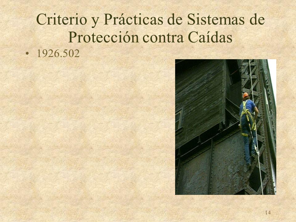 Criterio y Prácticas de Sistemas de Protección contra Caídas