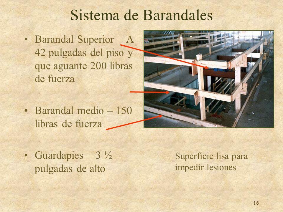 Sistema de BarandalesBarandal Superior – A 42 pulgadas del piso y que aguante 200 libras de fuerza.