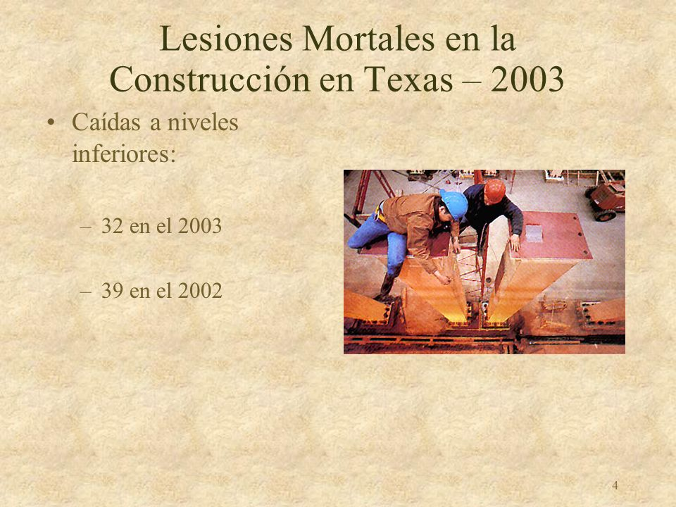Lesiones Mortales en la Construcción en Texas – 2003