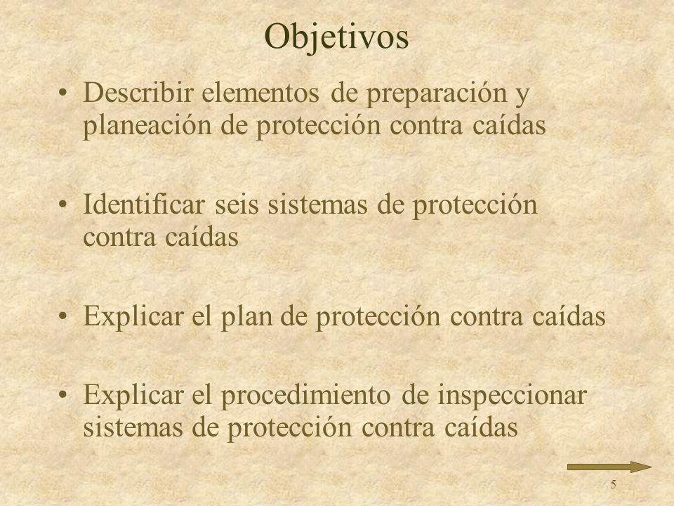 Objetivos Describir elementos de preparación y planeación de protección contra caídas. Identificar seis sistemas de protección contra caídas.