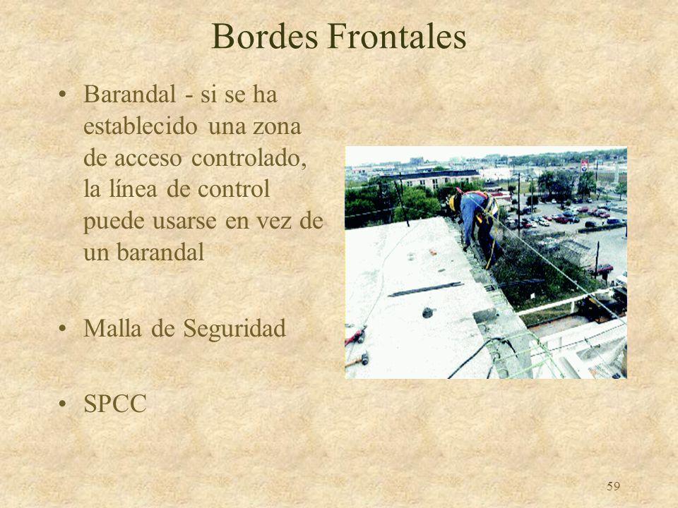 Bordes Frontales Barandal ‑ si se ha establecido una zona de acceso controlado, la línea de control puede usarse en vez de un barandal.