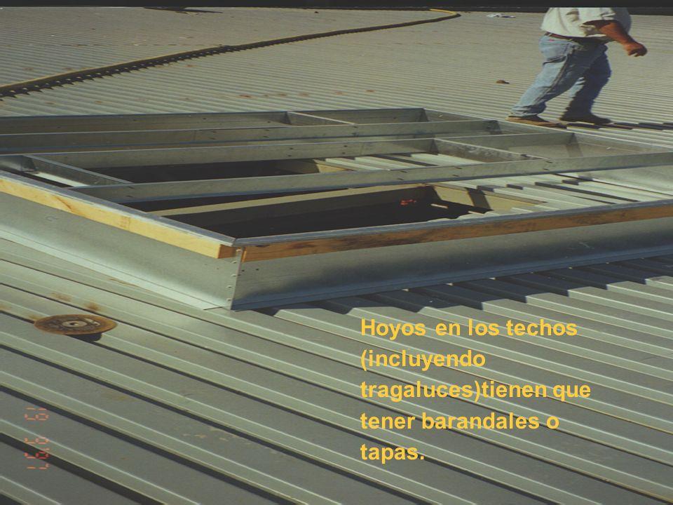 Hoyos en los techos (incluyendo tragaluces)tienen que tener barandales o tapas.