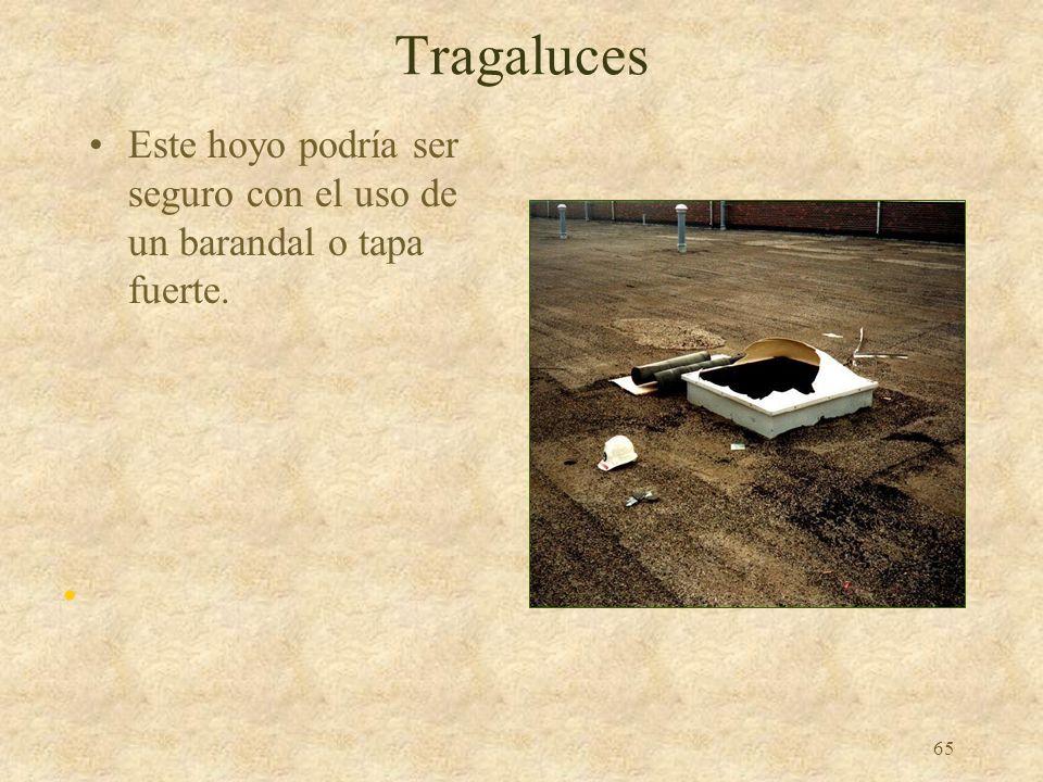 Tragaluces Este hoyo podría ser seguro con el uso de un barandal o tapa fuerte.
