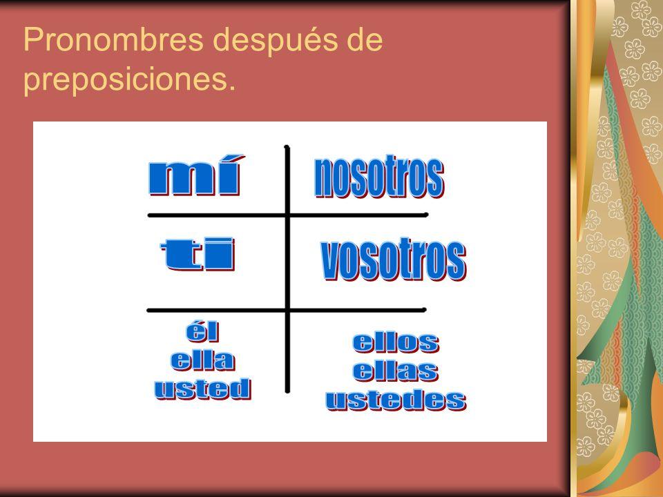 Pronombres después de preposiciones.