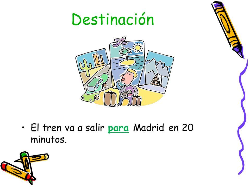 Destinación El tren va a salir para Madrid en 20 minutos.