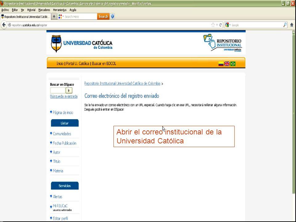 Abrir el correo institucional de la Universidad Católica
