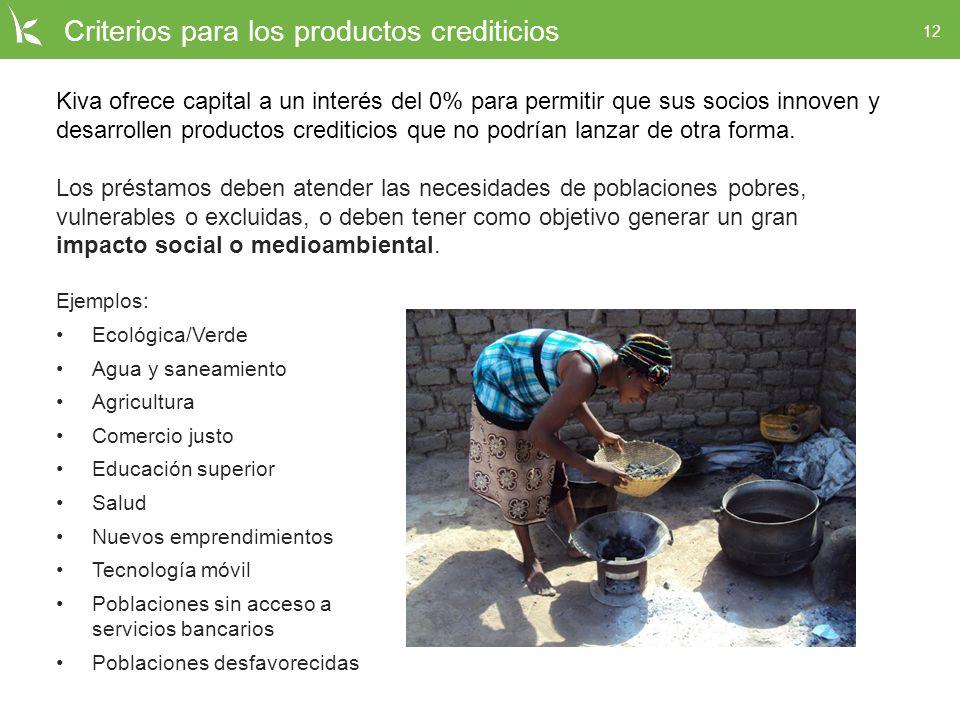 Criterios para los productos crediticios