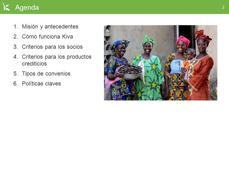 Agenda Misión y antecedentes Cómo funciona Kiva