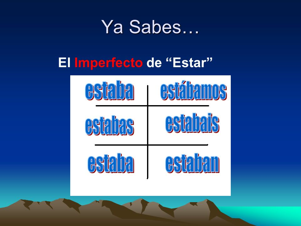 El Imperfecto de Estar