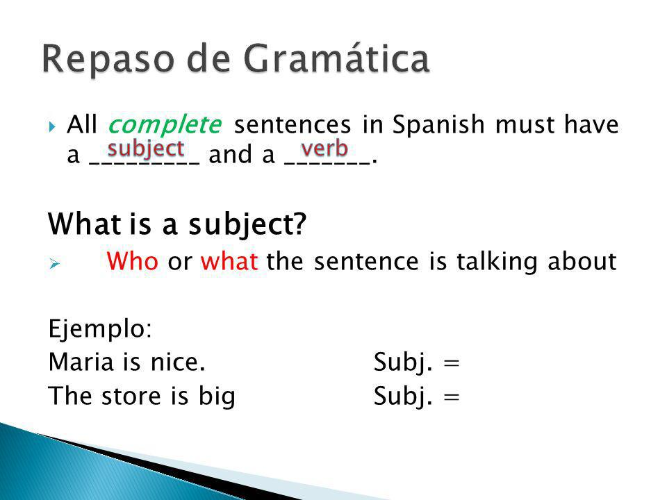 Repaso de Gramática What is a subject