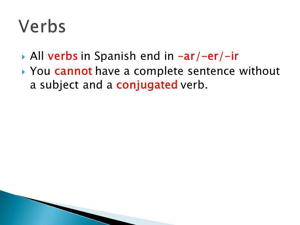 Verbs All verbs in Spanish end in –ar/-er/-ir