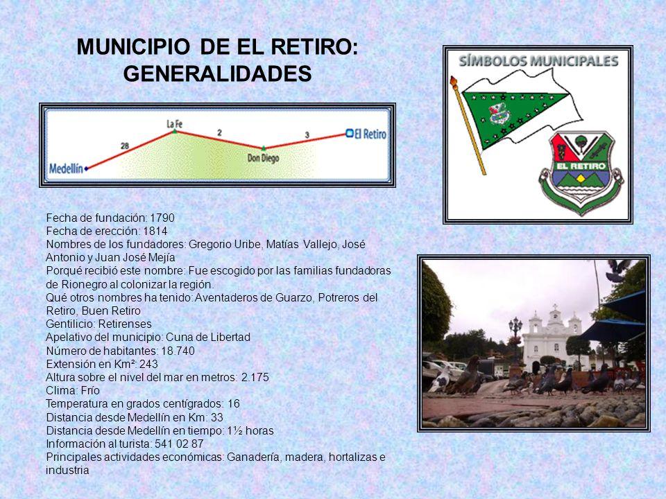 MUNICIPIO DE EL RETIRO: GENERALIDADES