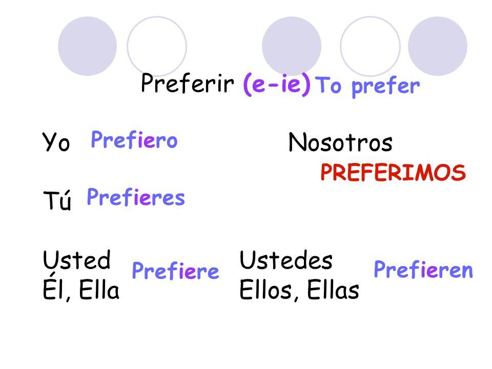 Preferir (e-ie) Yo Nosotros Tú Usted Ustedes Él, Ella Ellos, Ellas