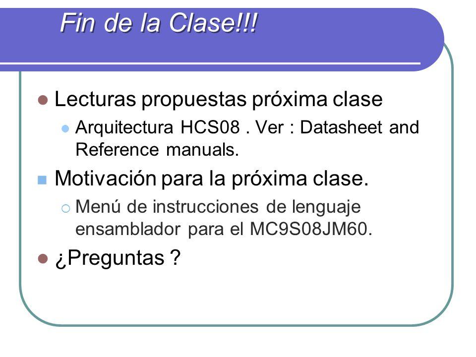 Fin de la Clase!!! Lecturas propuestas próxima clase