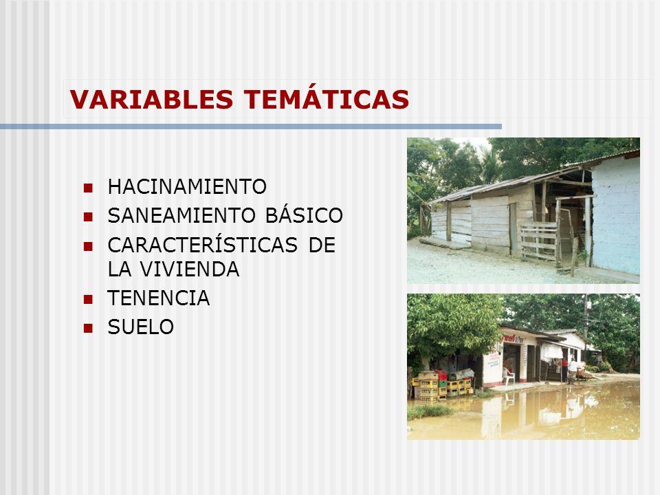 VARIABLES TEMÁTICAS HACINAMIENTO SANEAMIENTO BÁSICO