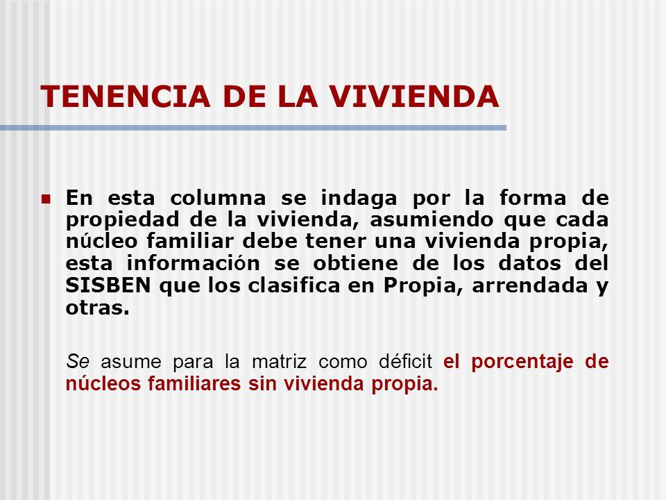 TENENCIA DE LA VIVIENDA
