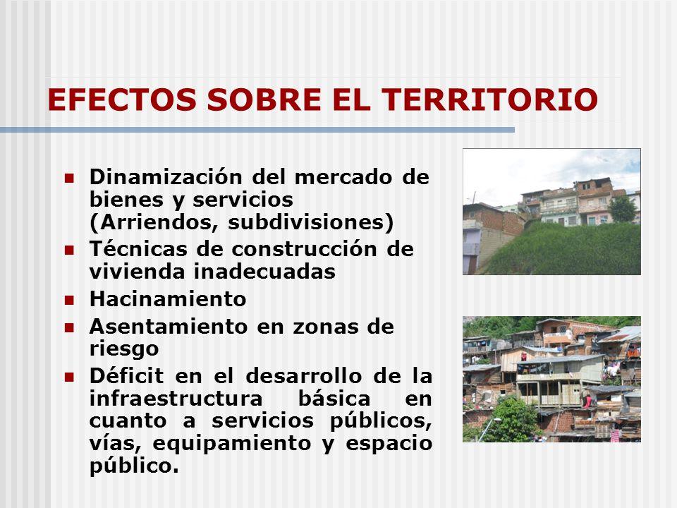 EFECTOS SOBRE EL TERRITORIO