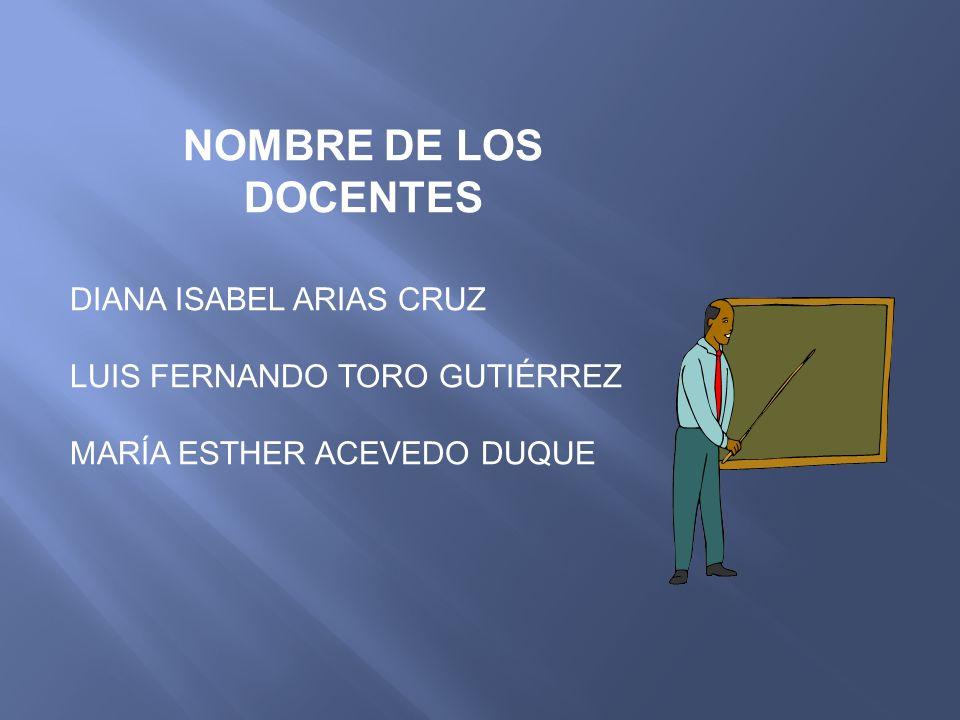 NOMBRE DE LOS DOCENTES DIANA ISABEL ARIAS CRUZ
