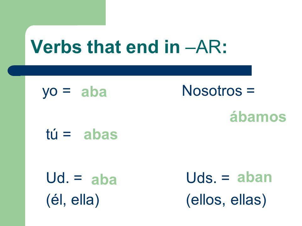 Verbs that end in –AR: yo = Nosotros = aba tú = ábamos Ud. = Uds. =