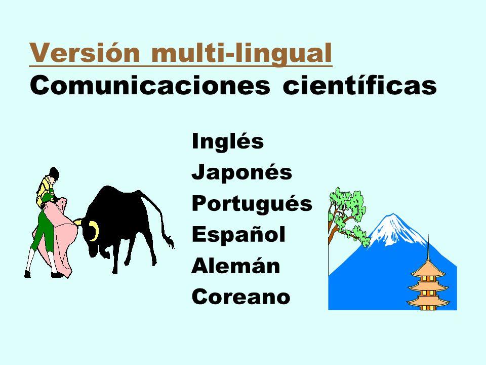 Versión multi-lingual Comunicaciones científicas