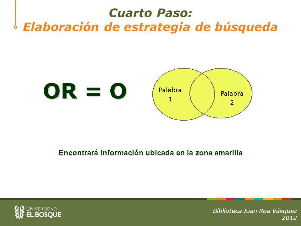 OR = O Cuarto Paso: Elaboración de estrategia de búsqueda Palabra 1