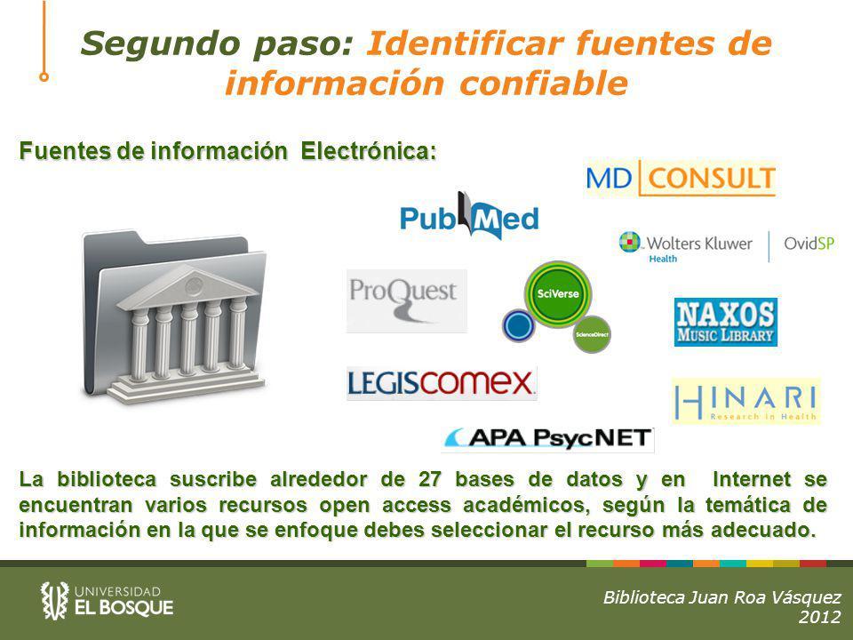 Segundo paso: Identificar fuentes de información confiable