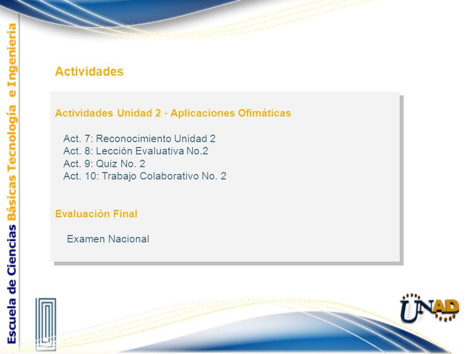 Actividades Actividades Unidad 2 - Aplicaciones Ofimáticas