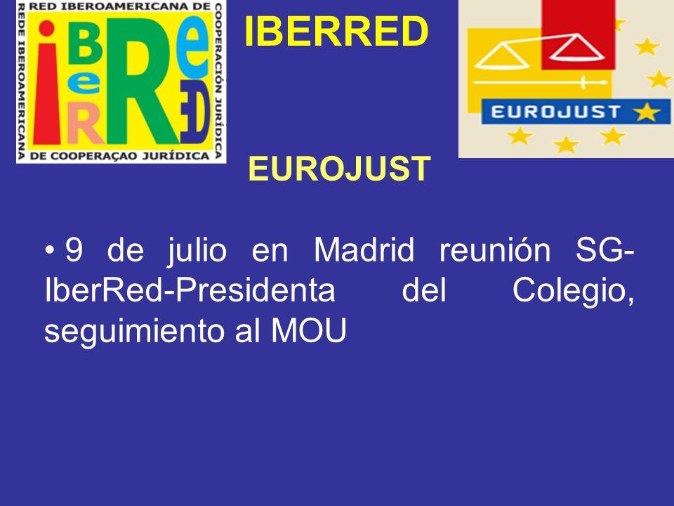 IBERRED EUROJUST 9 de julio en Madrid reunión SG-IberRed-Presidenta del Colegio, seguimiento al MOU