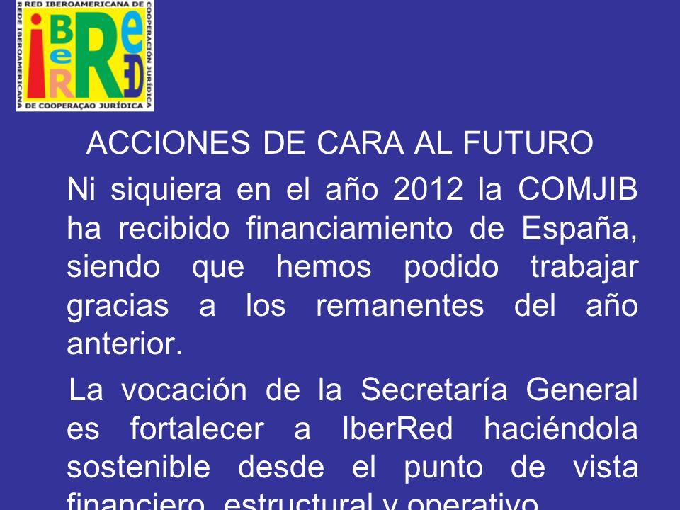 ACCIONES DE CARA AL FUTURO Ni siquiera en el año 2012 la COMJIB ha recibido financiamiento de España, siendo que hemos podido trabajar gracias a los remanentes del año anterior.