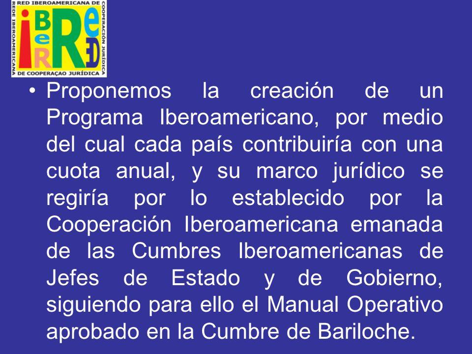 Proponemos la creación de un Programa Iberoamericano, por medio del cual cada país contribuiría con una cuota anual, y su marco jurídico se regiría por lo establecido por la Cooperación Iberoamericana emanada de las Cumbres Iberoamericanas de Jefes de Estado y de Gobierno, siguiendo para ello el Manual Operativo aprobado en la Cumbre de Bariloche.
