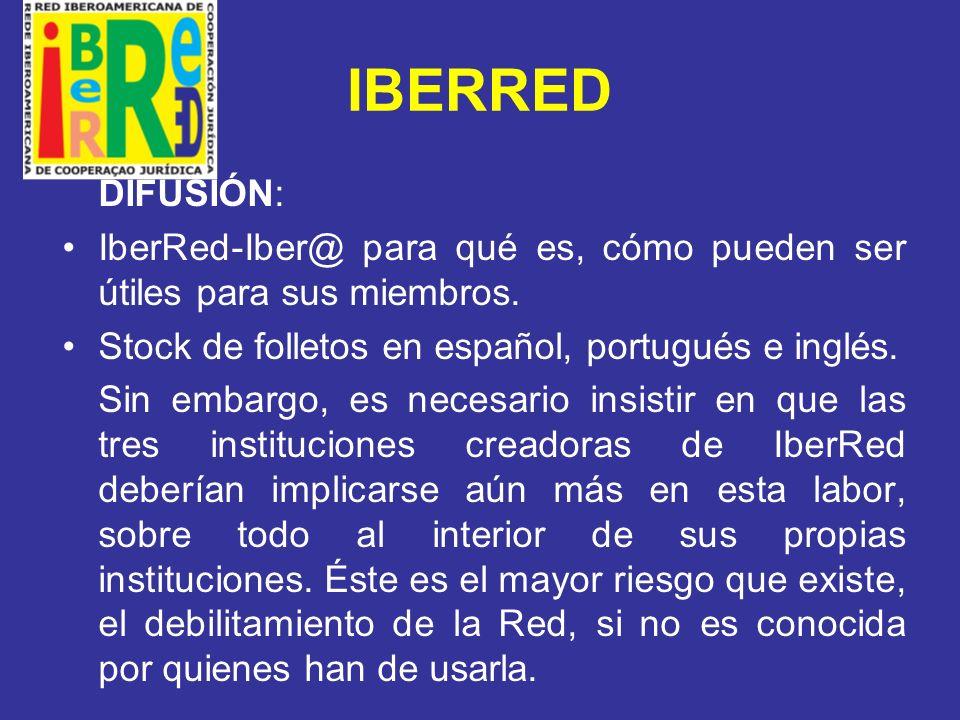 IBERRED DIFUSIÓN: IberRed-Iber@ para qué es, cómo pueden ser útiles para sus miembros. Stock de folletos en español, portugués e inglés.