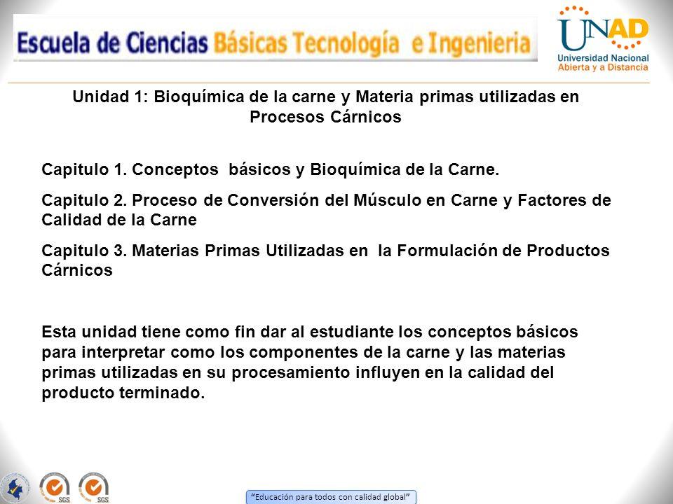 Unidad 1: Bioquímica de la carne y Materia primas utilizadas en Procesos Cárnicos