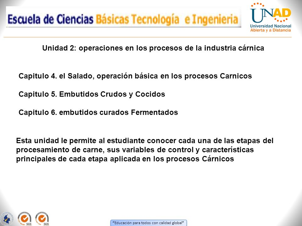 Unidad 2: operaciones en los procesos de la industria cárnica