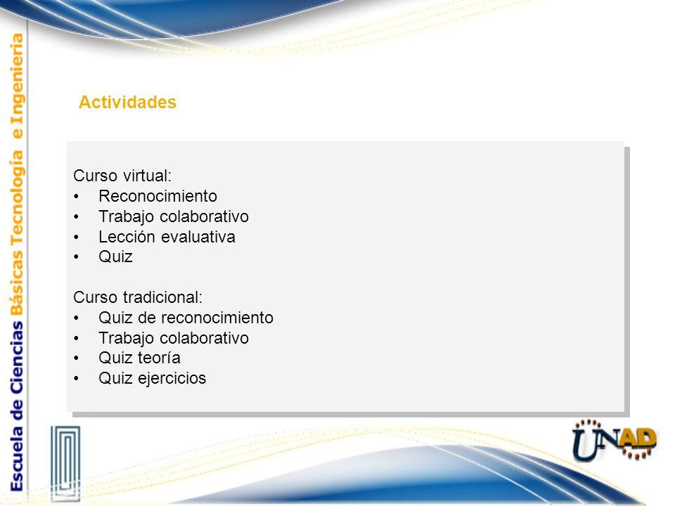 Actividades Curso virtual: Reconocimiento Trabajo colaborativo