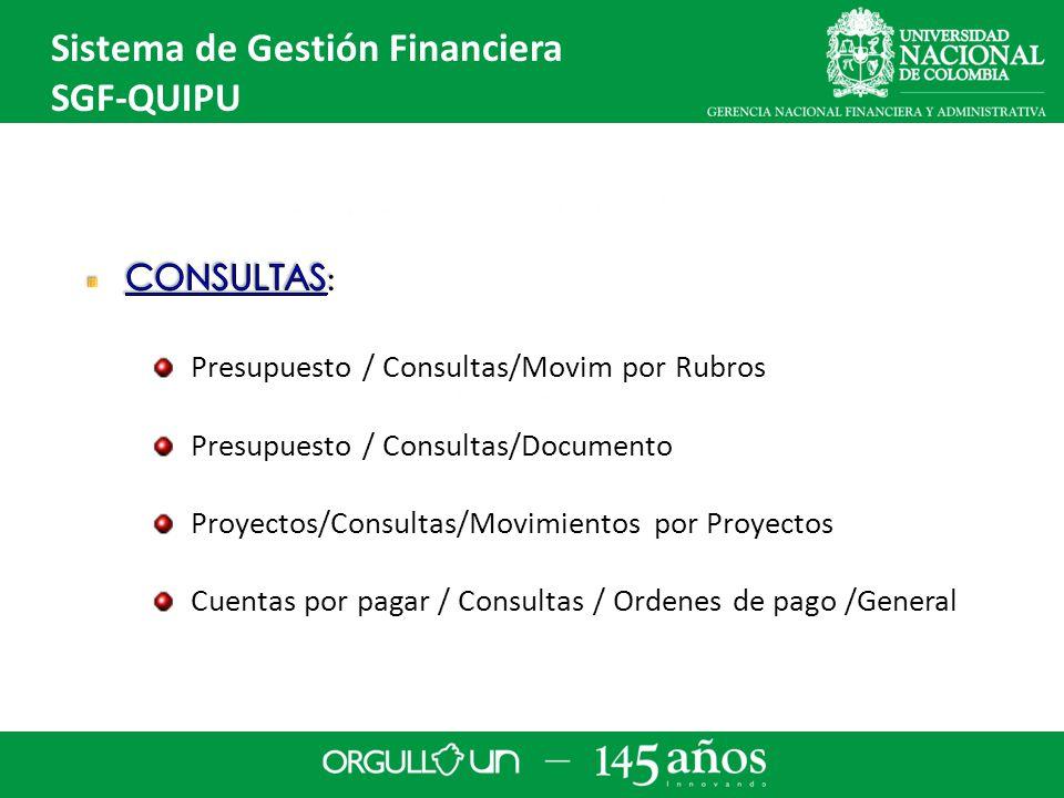 Sistema de Gestión Financiera SGF-QUIPU