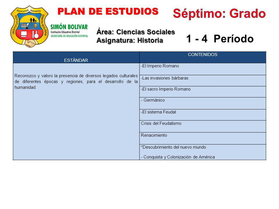 Séptimo: Grado 1 - 4 Período PLAN DE ESTUDIOS Área: Ciencias Sociales