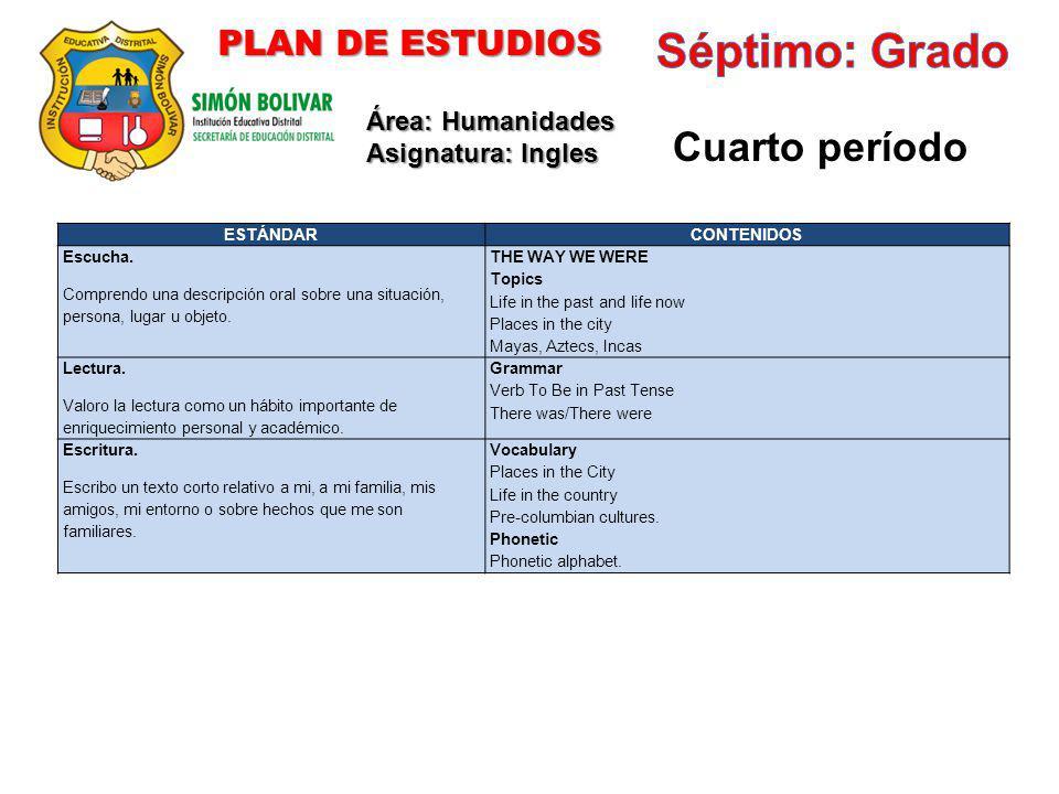 Séptimo: Grado Cuarto período PLAN DE ESTUDIOS Área: Humanidades