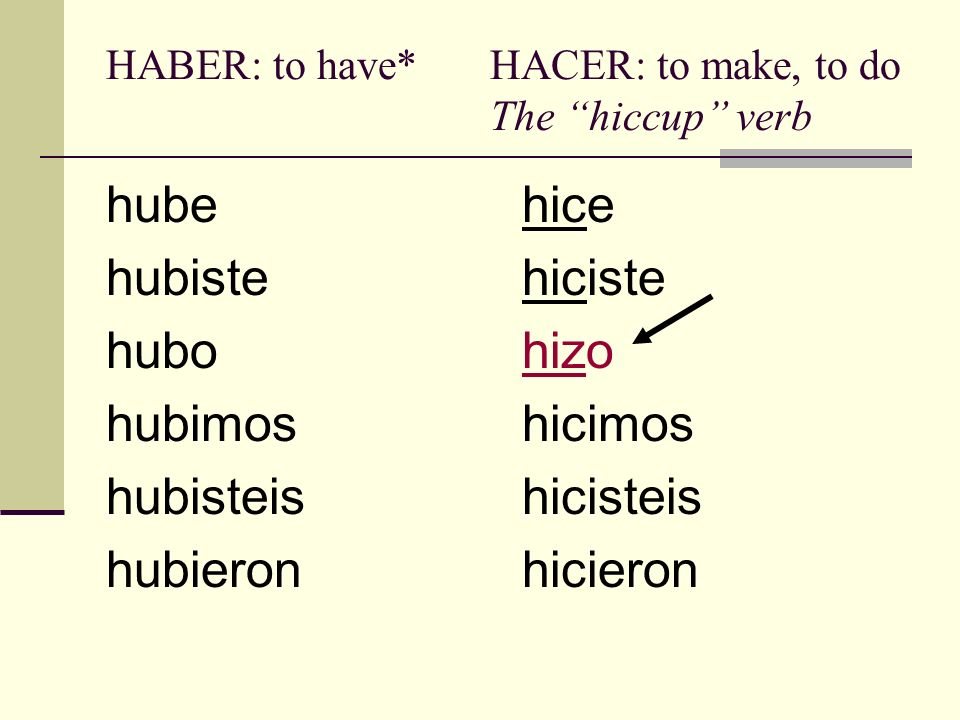 HABER: to have* HACER: to make, to do The hiccup verb
