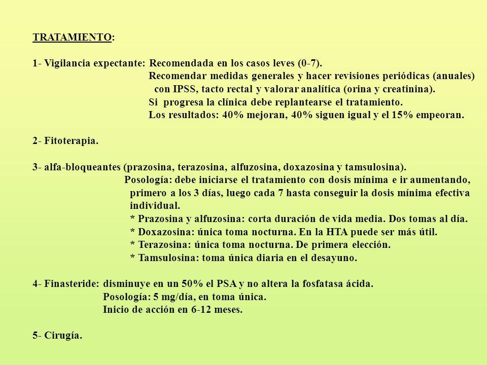 TRATAMIENTO: 1- Vigilancia expectante: Recomendada en los casos leves (0-7). Recomendar medidas generales y hacer revisiones periódicas (anuales)