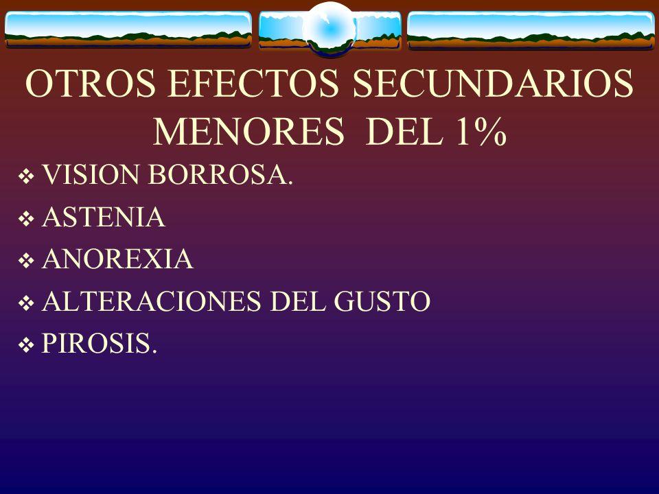 OTROS EFECTOS SECUNDARIOS MENORES DEL 1%