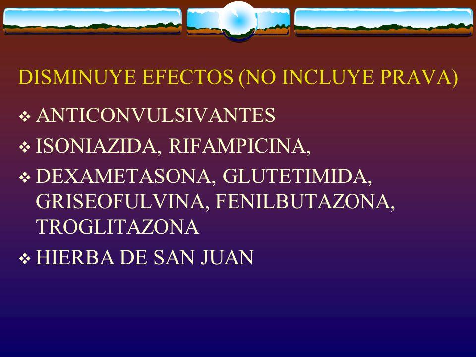 DISMINUYE EFECTOS (NO INCLUYE PRAVA)