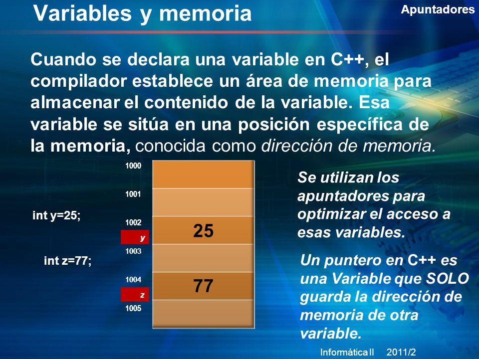 Variables y memoria Apuntadores.